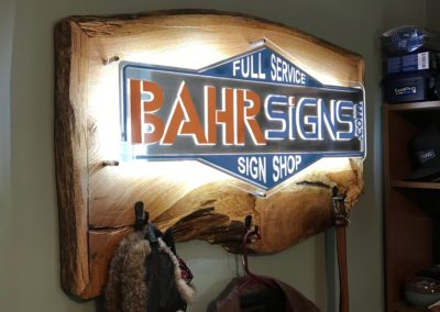 BahrSigns acrylic Wood Sign backlit